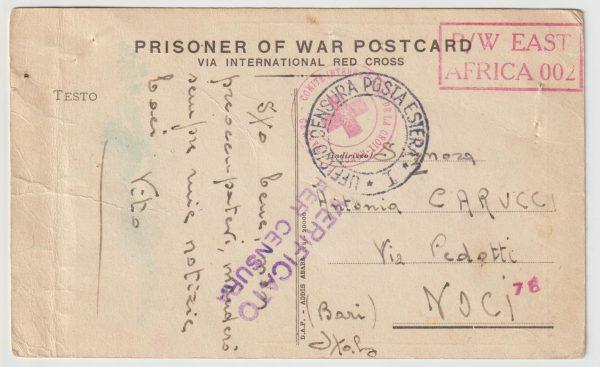 1941 KENYA - ITALY..WW2 ETHIOPIAN POW STATIONARY ..