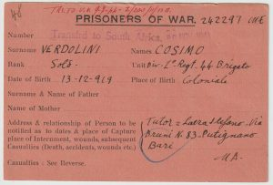 1941  ERITREA - SUDAN - SOUTH AFRICA..WW2 POW NOTIFICATION CARD....