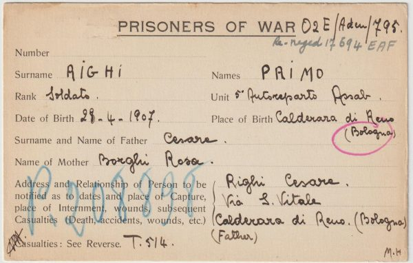 1941  ERITREA - ADEN - KENYA ...WW2 POW NOTIFICATION CARD....