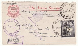 1941  FIJI - NEW ZEALAND…WW2 CENSORED AIRMAIL..
