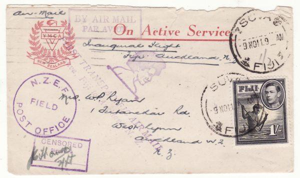1941  FIJI - NEW ZEALAND…WW2 CENSORED AIRMAIL..