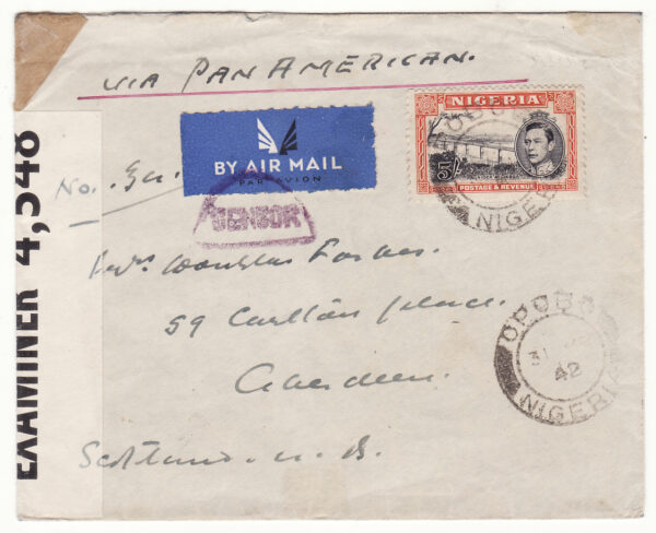 1942  NIGERIA - GB…WW2 via PAN AMERICAN TWICE ACROSS THE ATLANTIC..