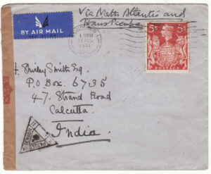 1941  GB - INDIA…WW2 Solo 5/- on TWO OCEAN MAIL...
