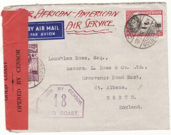 1942 ..GOLD COAST - GB..WW2 5/6 RATE TWICE ACROSS the ATLANTIC..