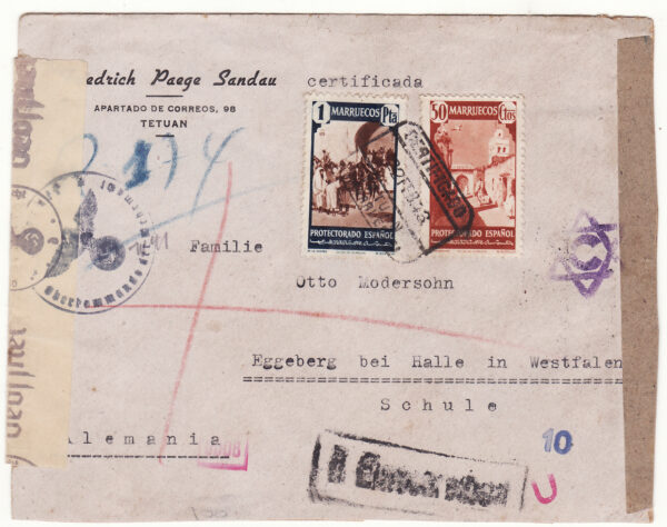 1943  SPANISH MOROCCO - GERMANY…WW2 REGISTERED & DOUBLED CENSORED .....