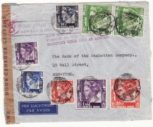1940  NED. EAST INDIES - USA…WW2 CENSORED MAIL at 9 x AIRMAIL RATE…