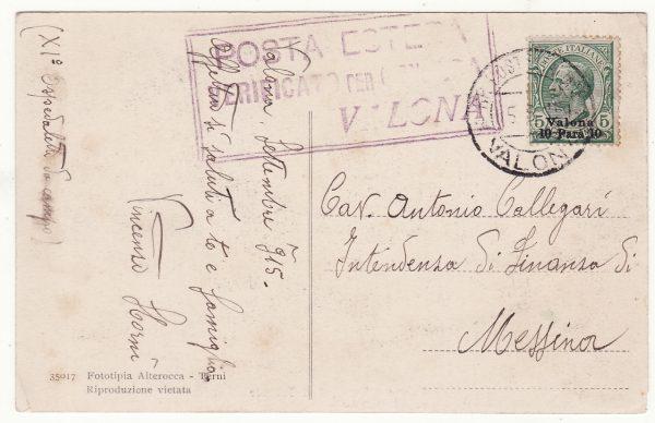 1915  ALBANIA - ITALY..WW1 ITALIAN LEVANT CENSORED…