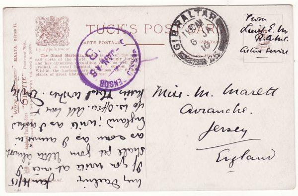 1916..MALTA - GIBRALTAR - GB…WW1 GIBRALTAR CENSOR on MALTA CARD..