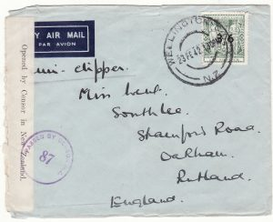 1942  NEW ZEALAND  -  GB …WW2 3/6 on 3/6 TWO OCEAN AIRMAIL...