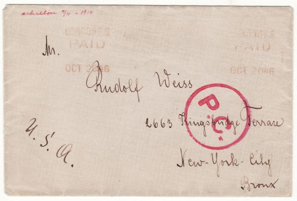 1914..GIBRALTAR - USA..WW1 POW..