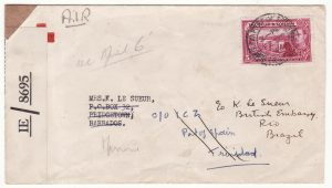 1944 TRINIDAD - BARBADOS - BRAZIL…WW2 RED CROSS & BRITISH EMBASSY..
