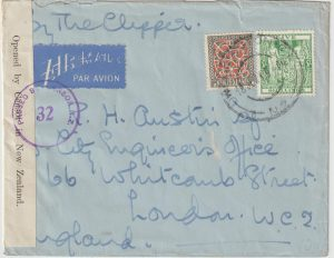1941  NEW ZEALAND  -  GB …WW2  TWO OCEAN AIRMAIL...