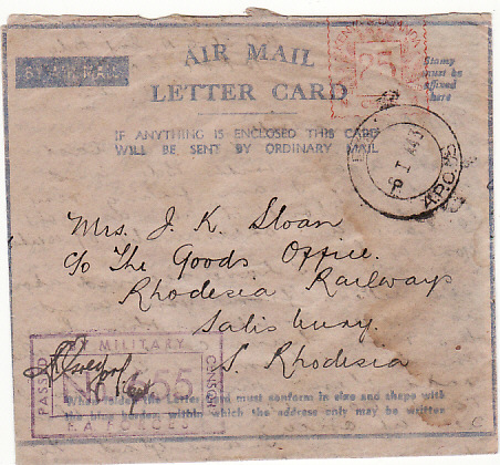 [11147]  KENYA-RHODESIA [WW2 FLIMSY TYPE AMLC]  1943(Jan 5)