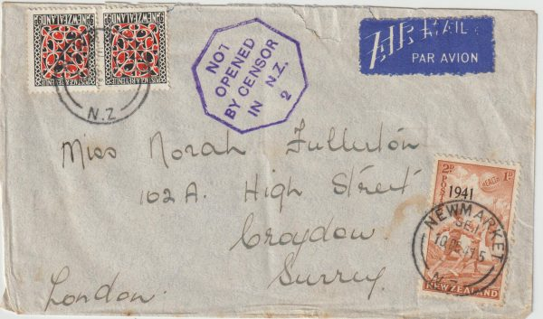 1941  NEW ZEALAND  -  GB …WW2 HORSESHOE ROUTE AIRMAIL with LATE FEE...