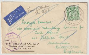 1941  NEW ZEALAND  -  GB …WW2  DOUBLE 2/6 RATE AIRMAIL...
