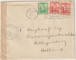 1939  NEW ZEALAND - NETHERLANDS…1939 EARLY PROVISIONAL CENSOR LABEL..