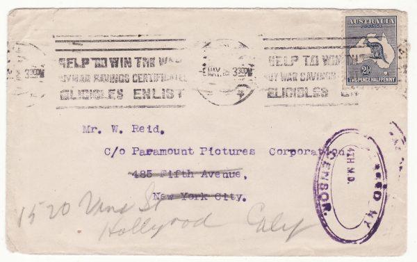 1918 AUSTRALIA - USA…WW1 CENSORED to HOLLYWOOD..