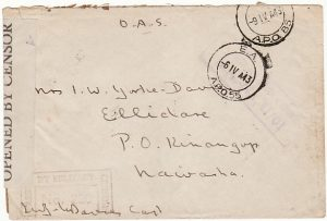 KENYA [WW2 MILITARY CENSORS LABEL]