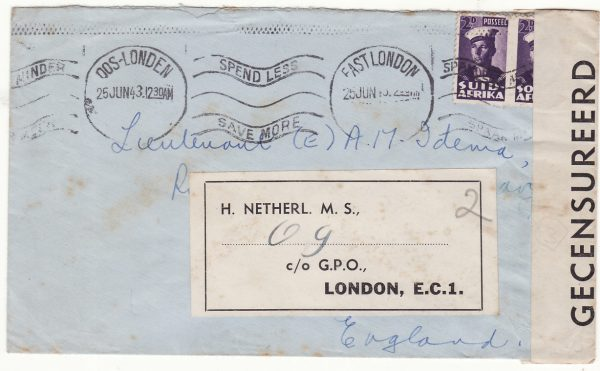 1943  SOUTH AFRICA - GB..WW2 ROYAL DUTCH SUBMARINE..
