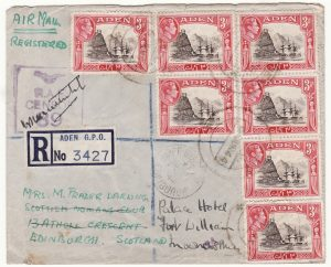 1944 ADEN - GB..WW2 REGISTERED CENSORED AIRMAIL..