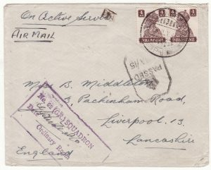 1942|1943 INDIA - GB ... 62 SQD. R.A.F.  with TEMPORARY P.O. / P-11 …