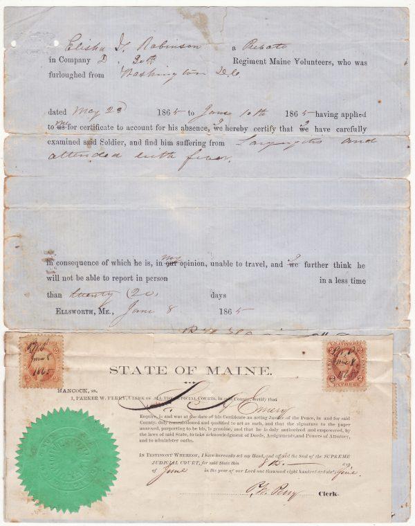 1865 USA …US CIVIL WAR DOCTORS CERTIFICATE…