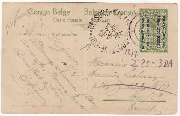 1918 GERMAN EAST AFRICA - BELGIUM…WW1 BELGIAN FORCES...
