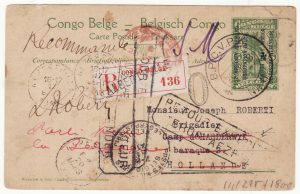 1918 GERMAN EAST AFRICA - NETHERLANDS…WW1 BELGIAN FORCES RUANDA URUNDI REGISTERED & RETURNED...