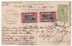 1917 GERMAN EAST AFRICA...WW1 BELGIAN FORCES REGISTERED...
