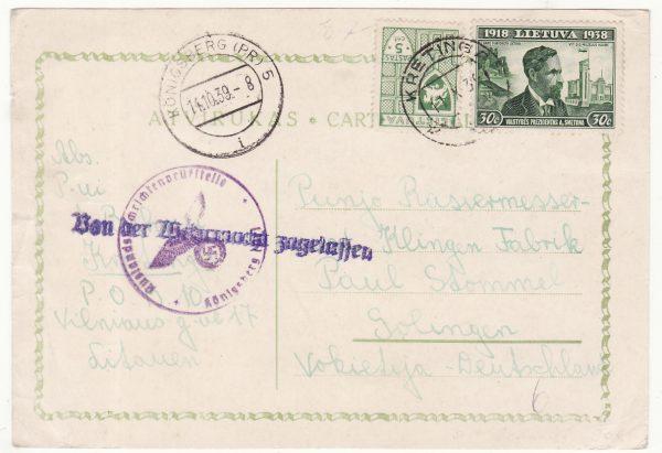 1939  LITHUANIA  - GERMANY…WW2 KONIGSBERG CENSORSHIP…