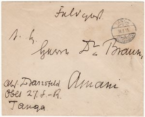 GERMAN EAST AFRICA[WW1 EAST AFRICA CAMPAIGN GERMAN FORCES INTERNAL MAIL]