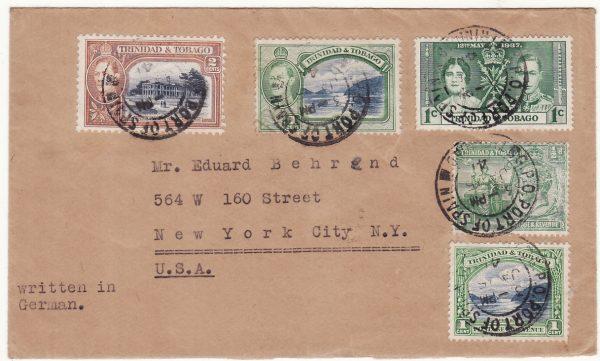 1941  TRINIDAD - USA..WW2 POW MAIL..