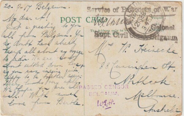 1917  INDIA  - AUSTRALIA …WW1 CIVIL INTERNEE BELGAUM..