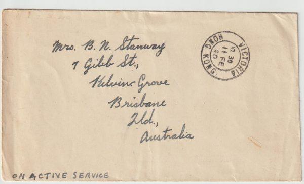 1940  HONG KONG - AUSTRALIA …WW2 NAVAL CENSORSHIP..