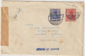 1914  GERMANY - AUSTRALIA…WW1 PERFINS on EARLY CENSORSHIP…..