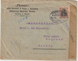 1914 GERMANY - AUSTRALIA…WW1  EARLY CENSORSHIP & TPO to HOLLAND…..