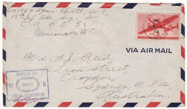 1943  USA - AUSTRALIA…CANADIAN FORCES ALEUTIAN ISLANDS...