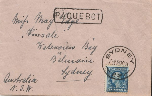 1914 USA - AUSTRALIA..WW1 UNCENSORED PAQUEBOT…