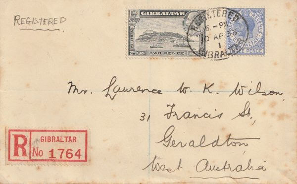 1933 GIBRALTAR - AUSTRALIA…1933 REGISTERED to GERALDTON