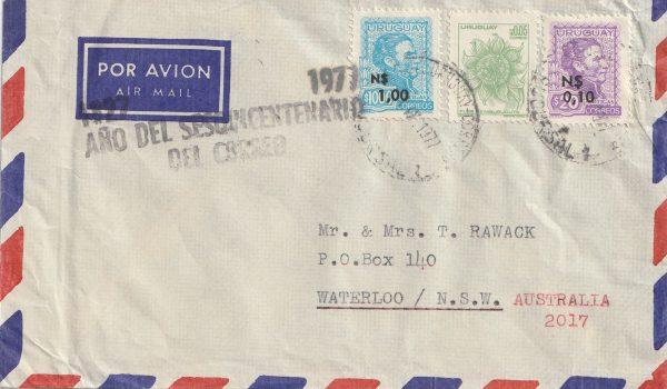 1977  URUGUAY - AUSTRALIA….950th ANNIV of the POSTS…