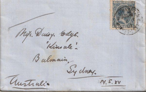 1901 SPAIN - AUSTRALIA ..VIA  GB