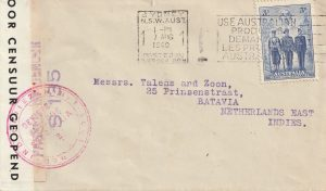 1940  AUSTRALIA - NED. EAST INDIES ..WW2 DOUUBLE CENSORED