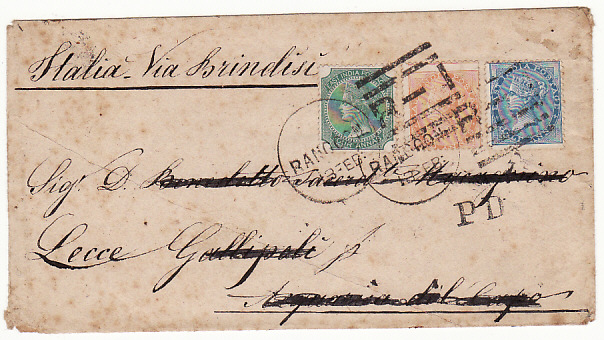 [13648]  BURMA-ITALY [INDIA USED IN BURMA 3 COLOUR FRANKING]  1875(Feb)