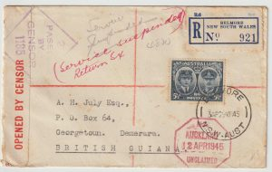 1943  AUSTRALIA - BRITISH GUIANA…REGISTERED CENSORED SERVICE SUSPENDED..