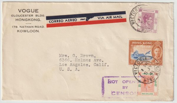 1941  HONG KONG - USA..WW2 AIRMAIL at $ 3.50 RATE