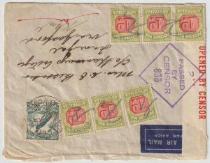 1941  NEW GUINEA - AUSTRALIA..WW2 AIRMAIL UNDERPAID & TAXED….