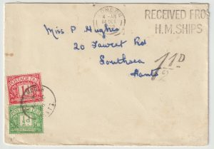 1939  GREAT BRITAIN…WW2 NAVAL MAIL CENSORED & TAXED…
