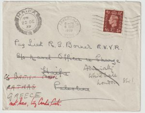 1939  GB - PALESTINE - GREECE - CRETE…WW2 LIEUT R. BORNER…