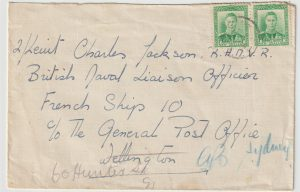 1943  NEW ZEALAND - AUSTRALIA …WW2 UNDERCOVER ADDRESS FREE FRENCH NAVY…