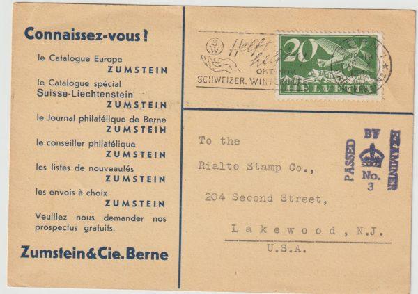 1940  SWITZERLAND - USA...INTERCEPTED in BERMUDA...